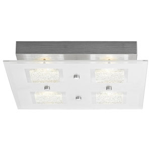 Modern Chrome Square LED Bathroom Light with Clear/Frosted Glass Plate