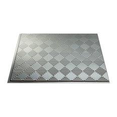 """18""""x24"""" Fasade Miniquattro Backsplash Panel, Brushed Aluminum"""