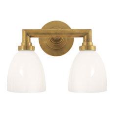 E. F. Chapman Wilton Double Bath Light, Hand-Rubbed Antique Brass