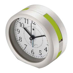 Round Silent Alarm Clock Battery Operated Snooze and Light Functions, B