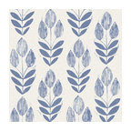 Scandinavian Blue Block Print Tulip Wallpaper Bolt