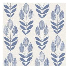 Brewster Home Fashions - Scandinavian Tulip Wallpaper, Blue, Bolt -  Wallpaper