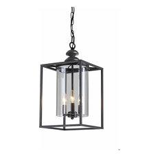 Antique Black 3-light Glass and Metal Chandelier