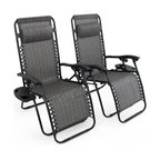 Patio Chairs With Cupholders, Set of 2, Gray