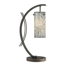 Woodbridge Lighting 13482MEB-M10WHT Eclipse Table Lamp, White Mosaic Glass