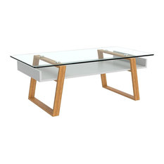Coffee Table Bamboo Wood With Tempered Gl Top Simple Modern Design