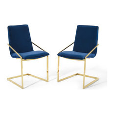 Pitch Dining Armchair Performance Velvet Set Of 2 Gold Navy