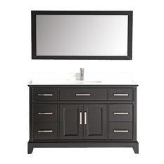 "60"" Vanity Set With White Stone, Espresso, Standard Mirror"