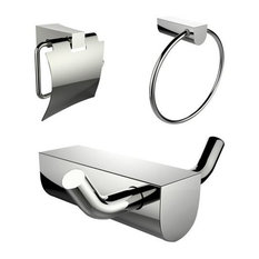 Chrome Plated Towel Ring and Robe Hook With Modern Toilet Paper Holder