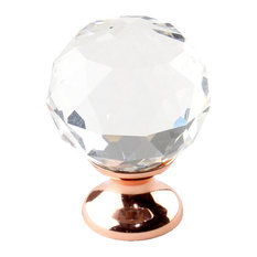 Century 30mm Glamour Cabinet Knob, Crystal/Rose Gold