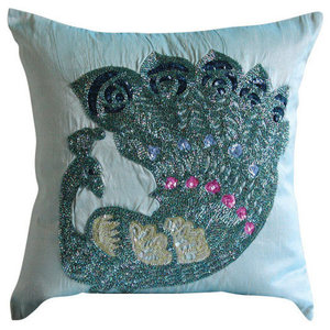 Blue Beaded Peacock Throw Cushion Cover, 50x50 Silk Cushion Cover, Peacock Glam