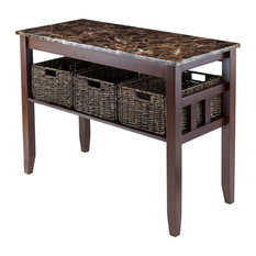 Zoey Console Table Faux Marble Top With 3 Baskets