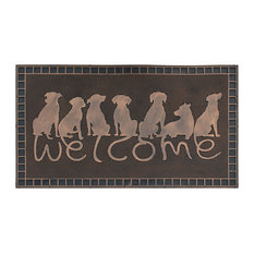 "A1HC Dogs Tails Welcome Rubber Pin Mat, Beautifully Copper Finished 18""x30"""