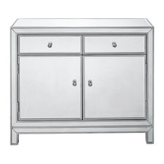 Home Living Nightstand 2 Drawers 2 Doors 38-inch W X 12-inch D X 32-inch HSilver Paint
