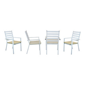 Outdoor Dining Chairs, Set of 4, White