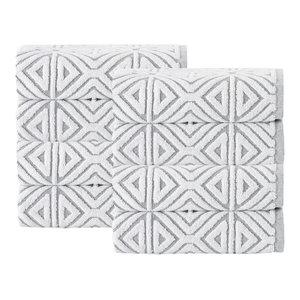 Glamour 8-Piece Turkish Cotton Hand Towel Set, Silver