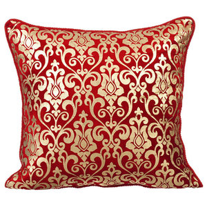 Damask 55x55 Velvet Red Decorative Cushions Cover, Red Festive