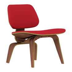 Eames Plywood Lounge Chair by Herman Miller, Upholstered, Red, Walnut
