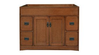 Mission Oak Assembled Vanity, 2 Drawers, 1 Shelf