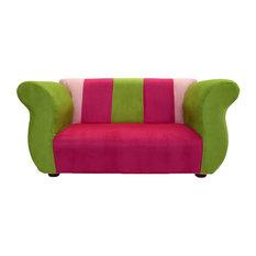 Keet   Keet Fancy Childrenu0027s Sofa Pink And Green Microsuede   Kids Sofas
