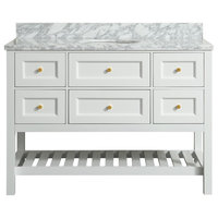Elma White Bathroom Vanity With Carrara Marble Top, 48""
