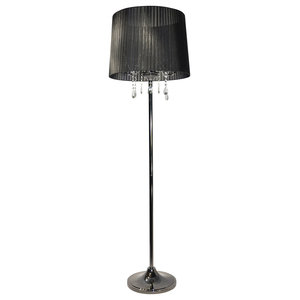 Crystal Floor Lamp, Black and Black Chrome