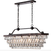 4-Light Antique Bronze Rectangular Crystal Chandelier Dining Room Fixture Glam