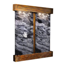 Cottonwood Falls Wall Fountain, Rustic Copper, Black Spider Marble, Square Frame