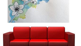 Commande personnalisée de tableau - Esprit japonisant motifs fleurs