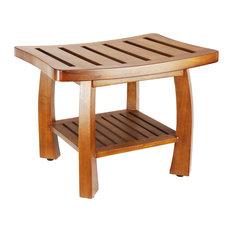 oceanstar oceanstar solid wood spa shower bench with storage shelf teak color finish