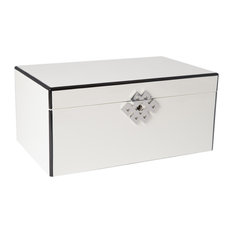 White Lacquered Wood 3-Level Jewelry Box