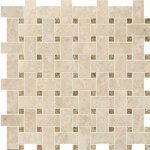 "MARBLE SYSTEMS - 12""x12"" Cappuccino Polished Basket Weave Classic Mosaic - *Beautiful Beige Marble Mosaics."