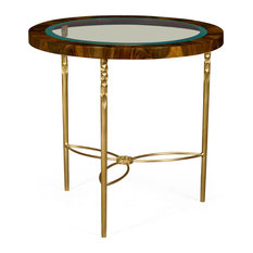 Round Side Table, Tropical Walnut Crotch With Brass Base