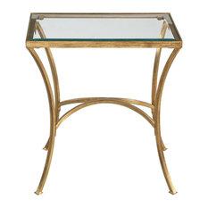Alayna End Or Side Table In Antiqued Gold Leaf