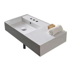 "Nameeks Scarabeo 5115 Scarabeo 32"" Ceramic Wall Mounted Bathroom Sink"