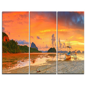 San Francisco At Sunset Panorama Canvas Print 3 Panels 36 X28 Contemporary Prints And Posters By Design Art Usa Houzz