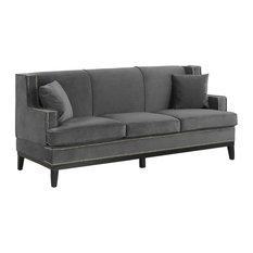 Classic Velvet Sofa Nailhead Trim Accent Living Room, Gray
