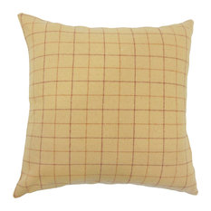 """Geovany Plaid Down Filled Throw Pillow, Tan, 20""""x20"""""""