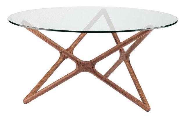 Centauri Modern Gl Top Wood Mid Century Dining Table 40d