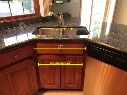 Kitchen Sink On A Corner Cabinet, How To Build Corner Kitchen Sink Cabinet
