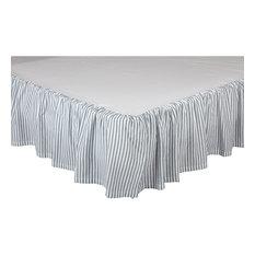 Farmhouse Bedding Miller Farm Ticking Stripe Bed Skirt Cotton Striped Gathered,