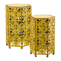 GDF Studio 2-Piece Utica Antique Style Yellow Accent Side Table, Yellow