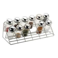 Chrome Steel Countertop 12 Glass Spice Rack