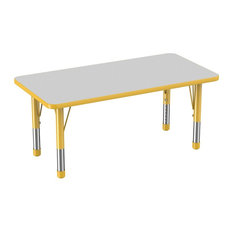 """24""""x48"""" Rectangle T-Mold Adjustable Kids Activity Table, Gray/Yellow"""