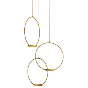 Odigiotto Triple Pendant Light With Gold Finish