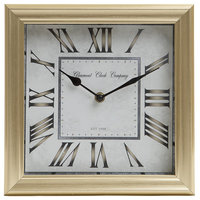 """10"""" Brushed Roman Numeral Square Tabletop Clock, Gold"""
