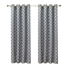 Royal Tradirion Meridian Room Darkening Thermal Grommet Panels Pair Gray 104