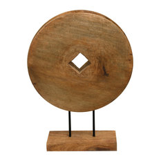 Native Wheel Natural Wood Table Top Carved Sculpture