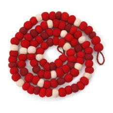 Felt Ball Christmas Garland in Red
