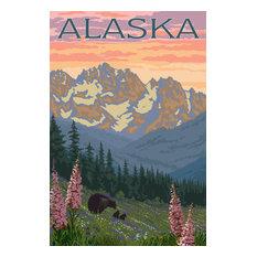 """Alaska, Bear and Cubs Spring Flowers"" Print, 24""x36"""